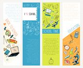 School education icons infographic banners