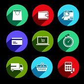 Online Shopping Icons Flat