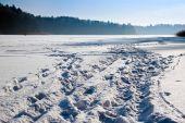 Pathway Trail On Frozen Lake