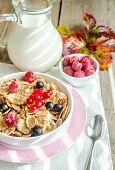 Wholegrain Granola With Milk And Fresh Berries