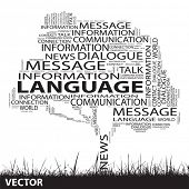 Vector concept or conceptual black contact tree and grass word cloud on white background