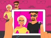 Photographing of happy couple on fuchsia background using white tablet pc