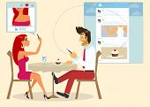 stock photo of internet-cafe  - Man and woman are sitting in a cafe and taking a photo of a cake for social networking - JPG