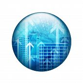 Skyscrapers with arrows. Spherical glossy button