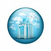 Skyscrapers with airplane. Spherical glossy button
