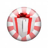 Gift box with label. Spherical glossy button
