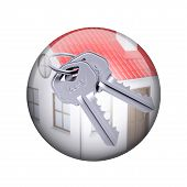 Two metal keys with house. Spherical glossy button