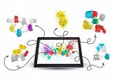 Tablet pc with colored business sketches