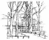 Hand Drawn Vector Illustration -  St. Petersburg. Line Art. Russia