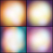 Abstract set of multicolored backgrounds, defocused lights vector illustration