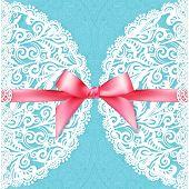 Blue lacy vector wedding card template