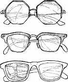 Hand Drawn Vector illustration - Sunglasses. Line Art. Summer Time