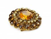 Vintage Brooch With Gemstones On The White Background