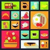 breakfast icons vector set