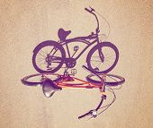 a cruiser bicycle with a shadow shot straight on with an instagram like filter added