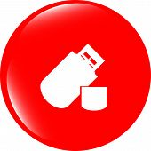 Usb Flash Drive Web Glossy Icon On White Background