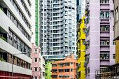 Abstract Buildings in Hong Kong, China.