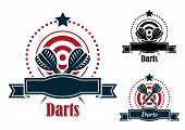 Постер, плакат: Darts sports emblems with banners