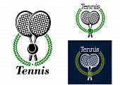 Tennis emblem with laurel wreath