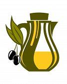 Jar of fresh golden olive oil