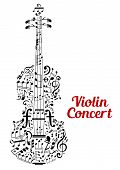 foto of text cloud  - Creative vector Violin Concert poster design with the shape of a violin composed of music notes and clefs in a random scattered pattern in a text cloud and the text  - JPG