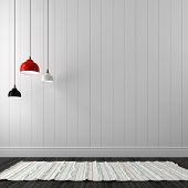 foto of chandelier  - Chandeliers of different colors against the background of white wall boards - JPG