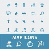 map, navigation, route, road icons, signs, symbols set, vector