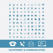 100 internet, communication, technology, phone, mail, wireless icons, signs, symbols set, vector