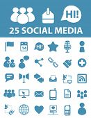 25 social media, blog, community, users icons, signs, symbols set, vector