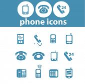 phone, smartphone, mobile, communication, connection icons, signs, symbols set, vector