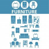 furniture, interior design icons, signs, symbols set, vector