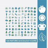 100 nature, ecology, biology icons, signs, symbols set, vector