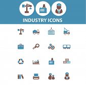industry, factory, business, engineer, industrial icons, signs, symbols set, vector
