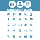 education, school, science, learn, study icons, signs, symbols set, vector
