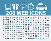 200 web, internet marketing icons, signs, symbols set, vector