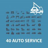 40 car service, auto service, repair, icons, signs, symbols set, vector
