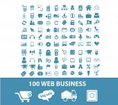 100 web business, internet marketing, seo icons, signs, symbols set, vector