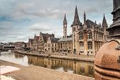 stock photo of old post office  - The post office of Gent whit Graslei water in front - JPG