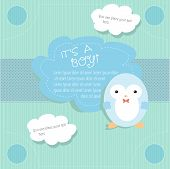 Baby shower card design with penguin