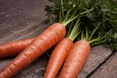 fresh carrot bunch on grungy wooden background
