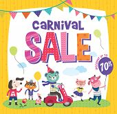 Carnival sale poster with cute animals