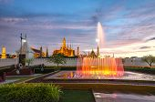 Beautiful Fountain And Wat Phra Kaew In Background ,bangkok Of Thailand