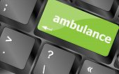 Ambulance Button On Modern Computer Keyboard Key