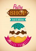 Illustrated pastry shop poster. Vector illustration.
