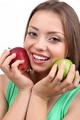 Beautiful girl with apples, isolated on white