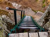 Metal Ladder On The Rock Viewpoint