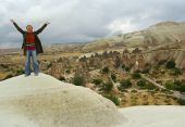 Panoramic Cappadocia View From The Hill With A Girl On The Top