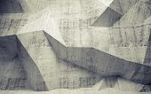 Abstract Toned Concrete 3D Interior With Polygonal Pattern On The Wall