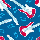 Guitar Music Seamless Pattern With Blue Background