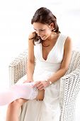 Bride assumes garter